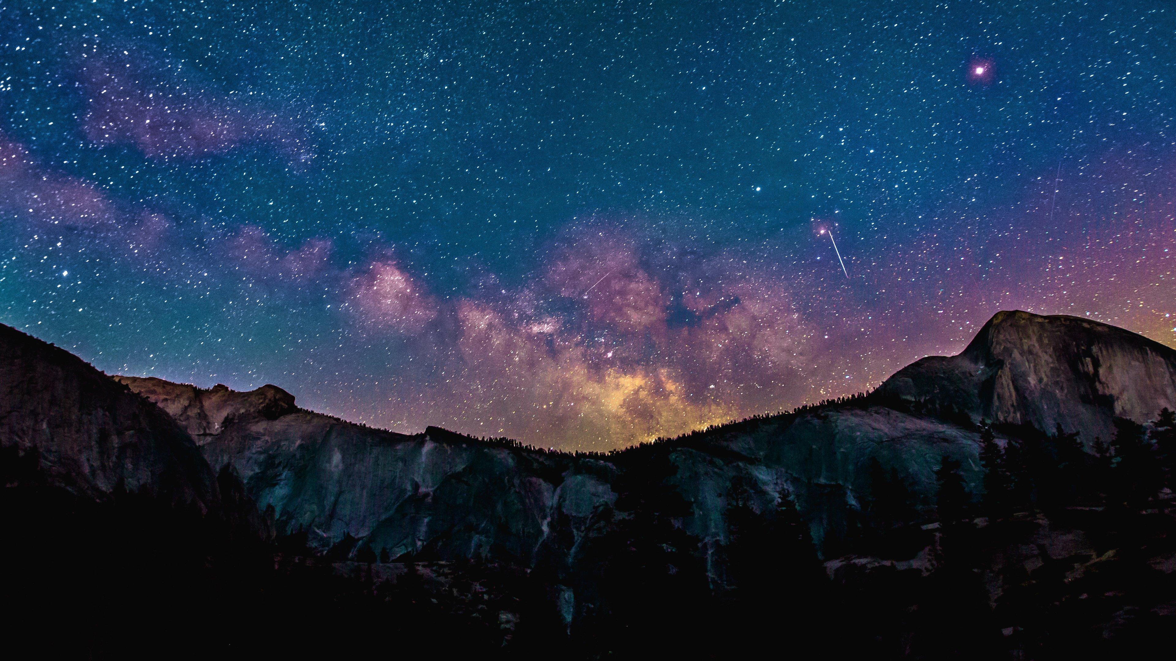 Milky Way Over Mountains Wallpaper Mobile Desktop Background