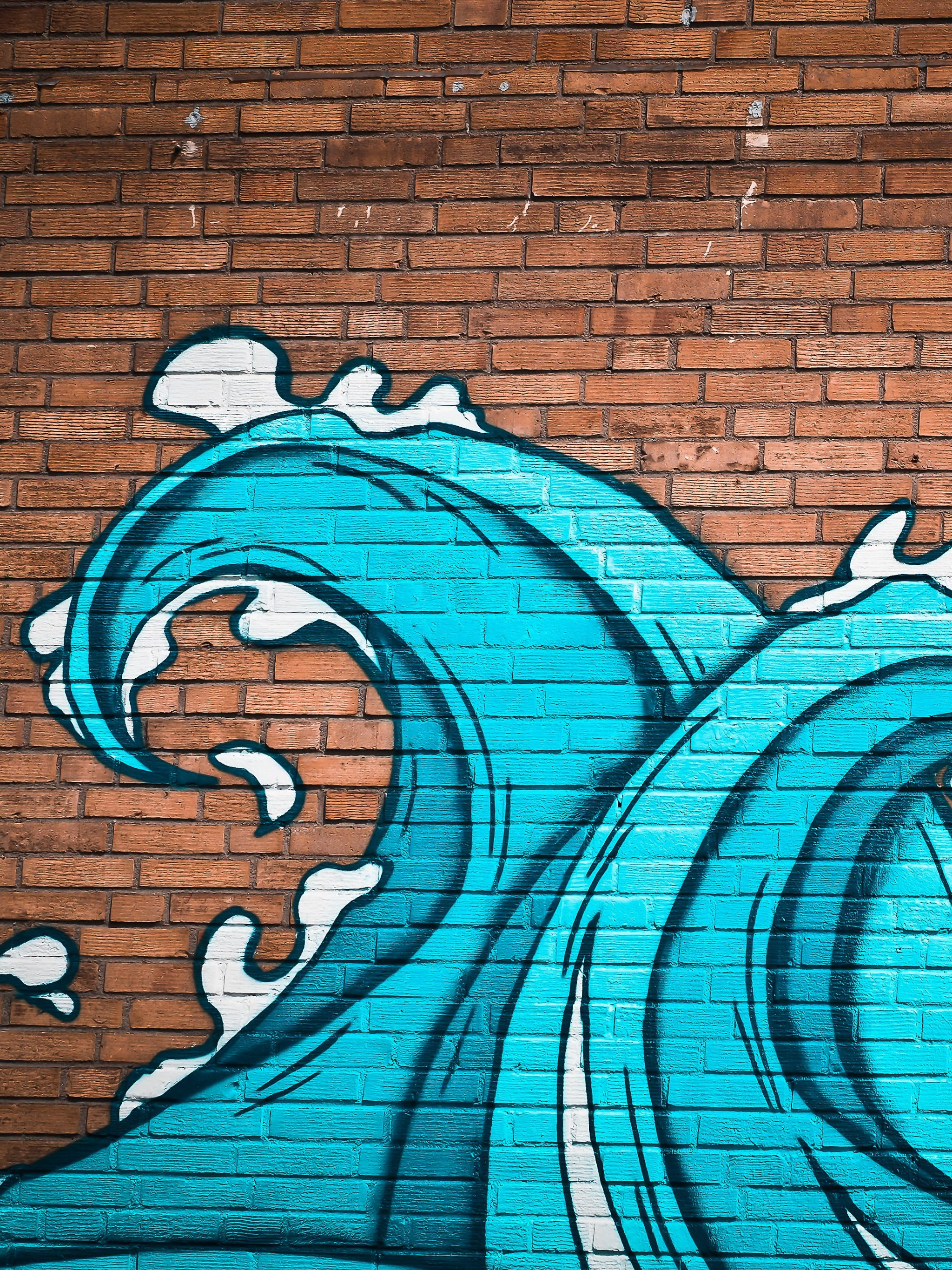 Ocean Waves Street Art Wallpaper