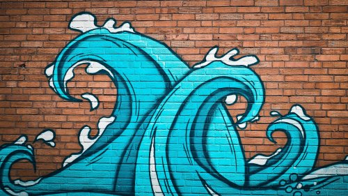 Ocean Waves Street Art HD Wallpaper