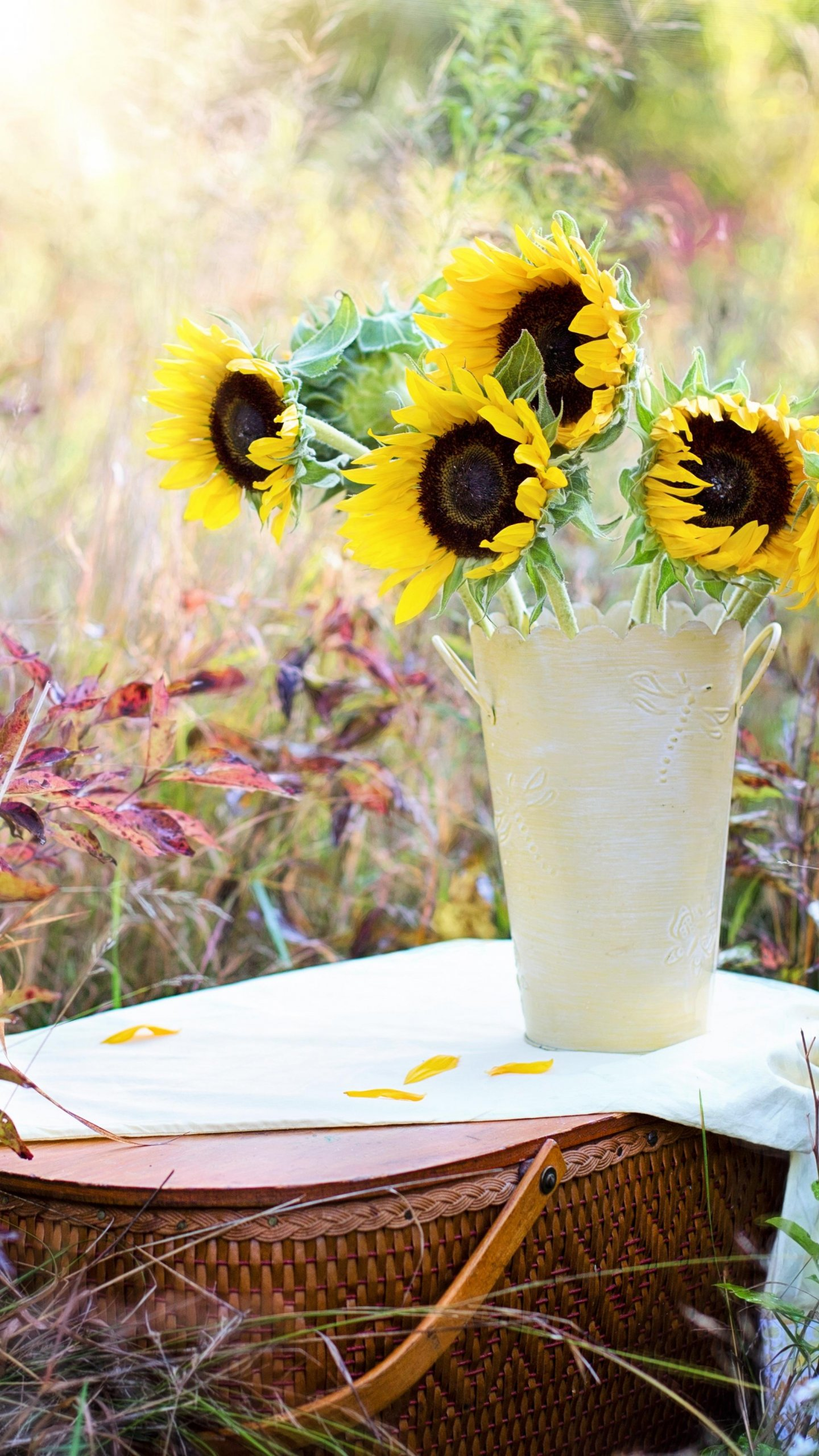 Romantic Picnic Basket Sunflowers Wallpaper Iphone