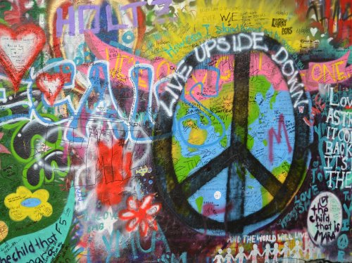 Prague Lennon Graffiti Wall  Wallpaper