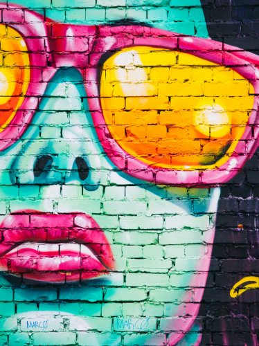 Girl With Sunglasses Graffiti